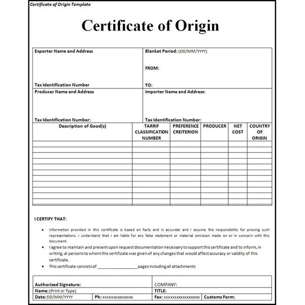 giấy chứng nhận xuất xứ hàng hóa