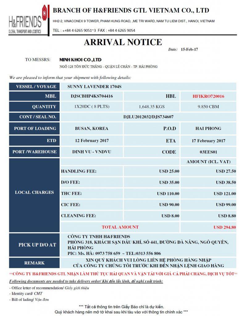 Giấy báo hàng đến Arrival Notice