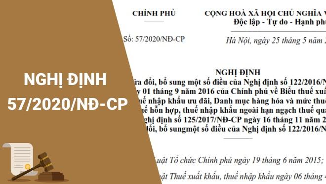 Nghị định 57/2020/NĐ-CP điều chỉnh về mức thuế, Biểu thuế xuất nhập khẩu ưu đãi và Danh mục hàng hóa