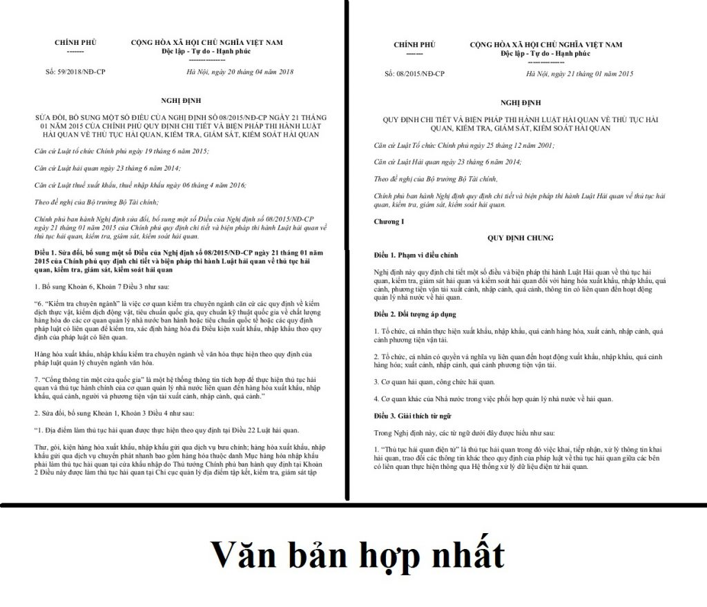 Nội dung hợp nhất Nghị định 08/2015/NĐ-CP và Nghị định 59/2018/NĐ-CP