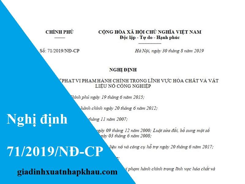 Nghị định 71/2019/NĐ-CP về xử phạt vi phạm hành chính về Hóa chất và vật liệu nổ công nghiệp