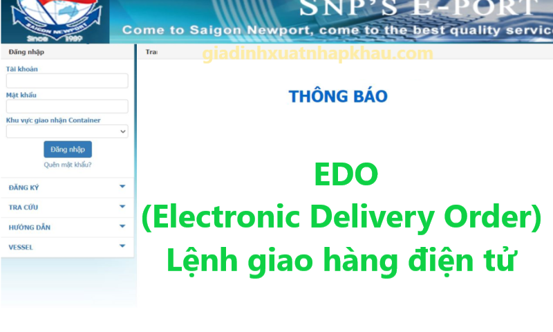 EDO (Electronic Delivery Order) - Lệnh giao hàng điện tử